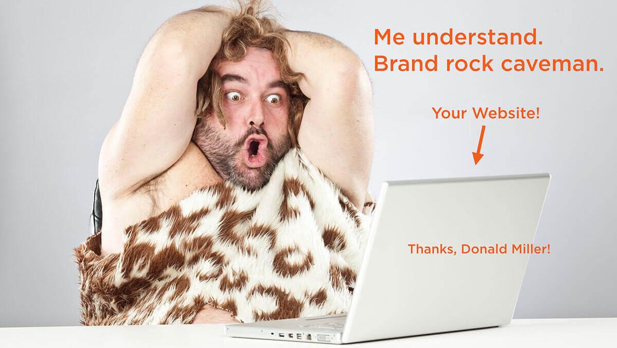 Brand rock caveman