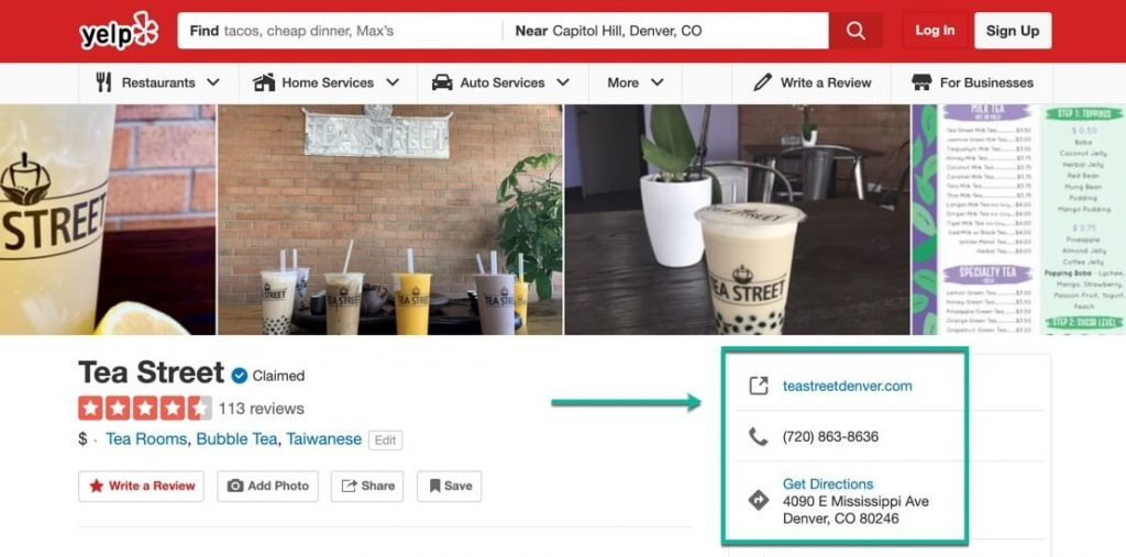 A screenshot of a Yelp page for a Tea Shop in Denver –The power of local citations – McBreen Marketing