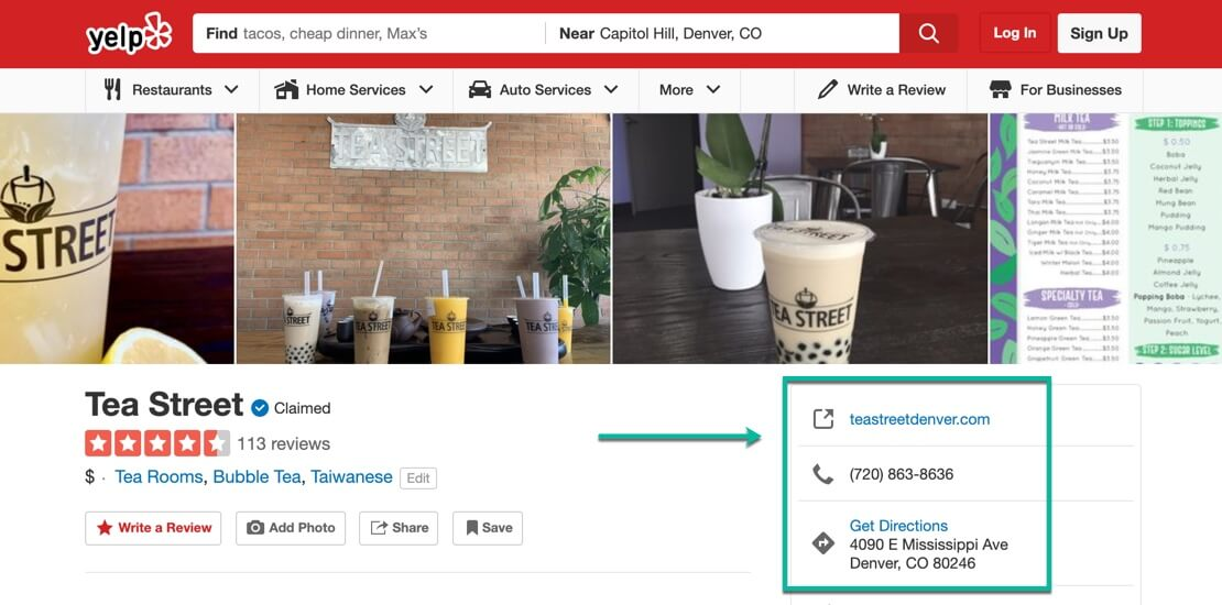 A screenshot of a Yelp page for a Tea Shop in Denver – The power of local citations – McBreen Marketing