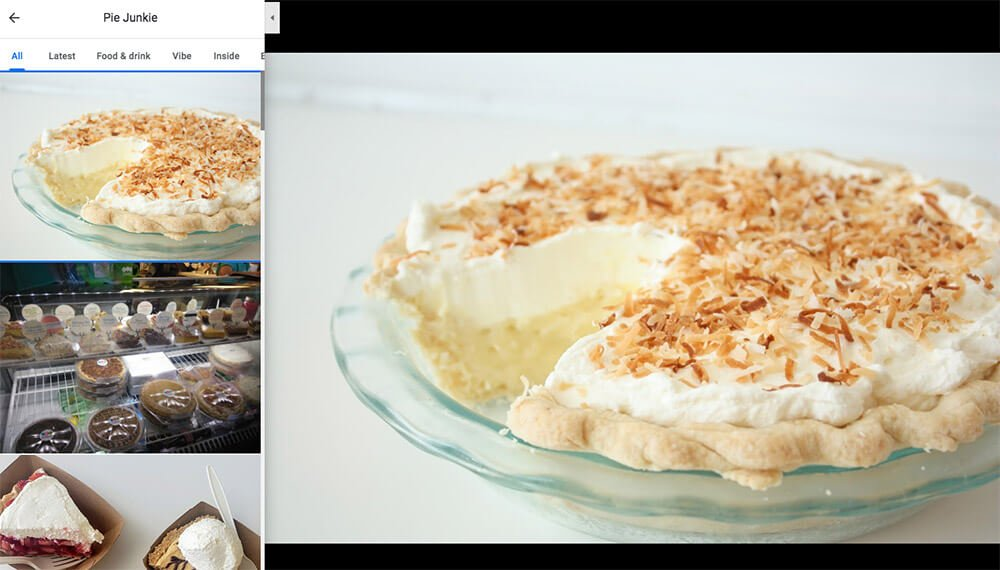 Add photos to GMB – This sample highlights Pie Junkie's GMB page