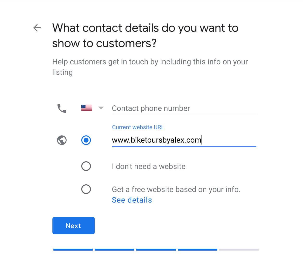 Screenshot – how to enter your business phone number and website URL – McBreen Marketing – Fort Collins, CO