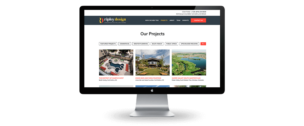 Ripley Design Inc. website design projects page – McBreen Marketing