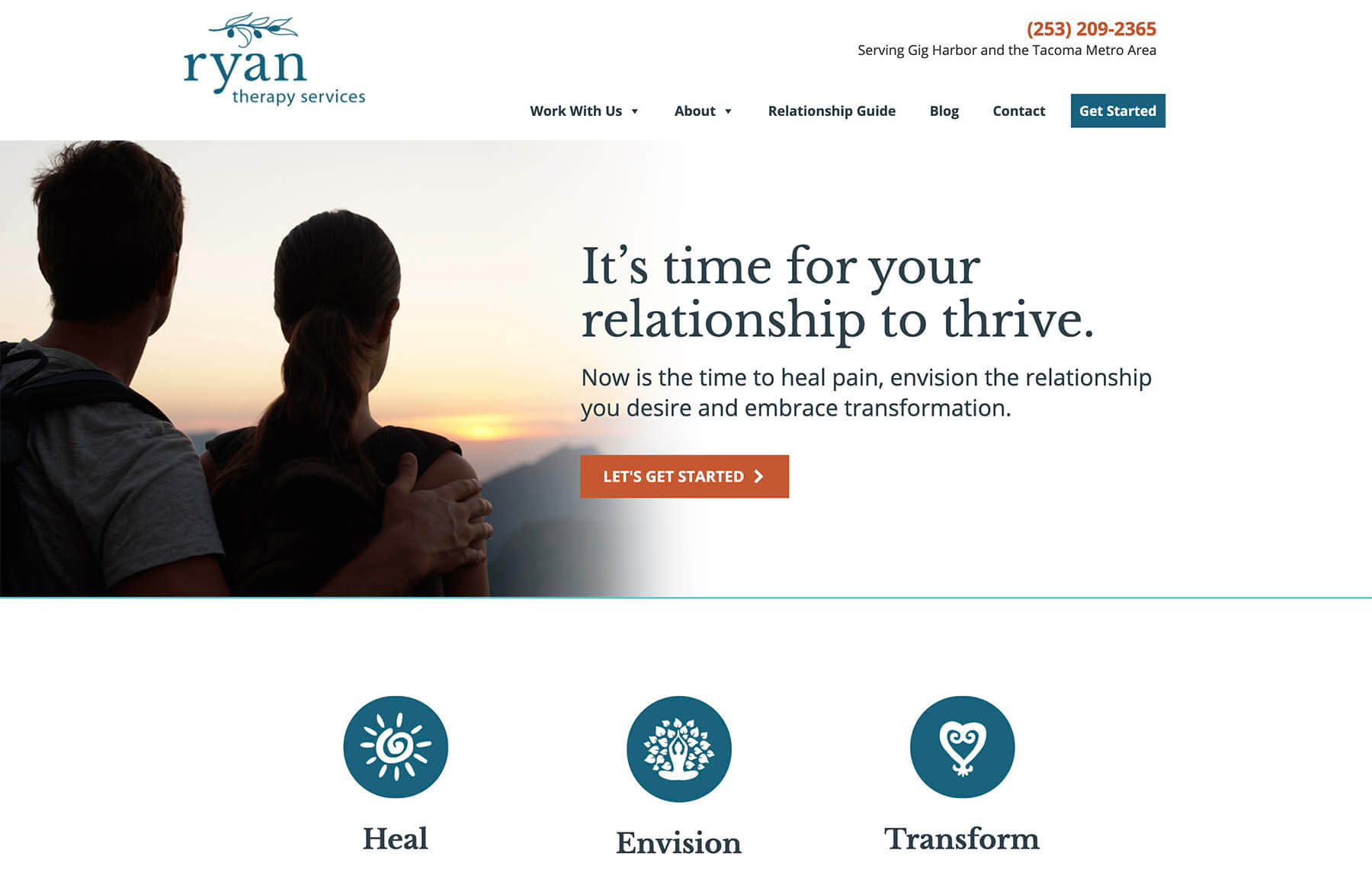 Ryan Therapy – example of Above the Fold – McBreen Marketing
