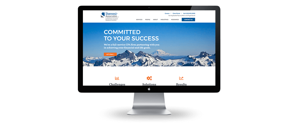Shannon & Associates website design homepage – McBreen Marketing