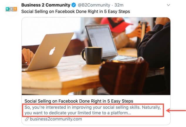 Example of a meta description in social media